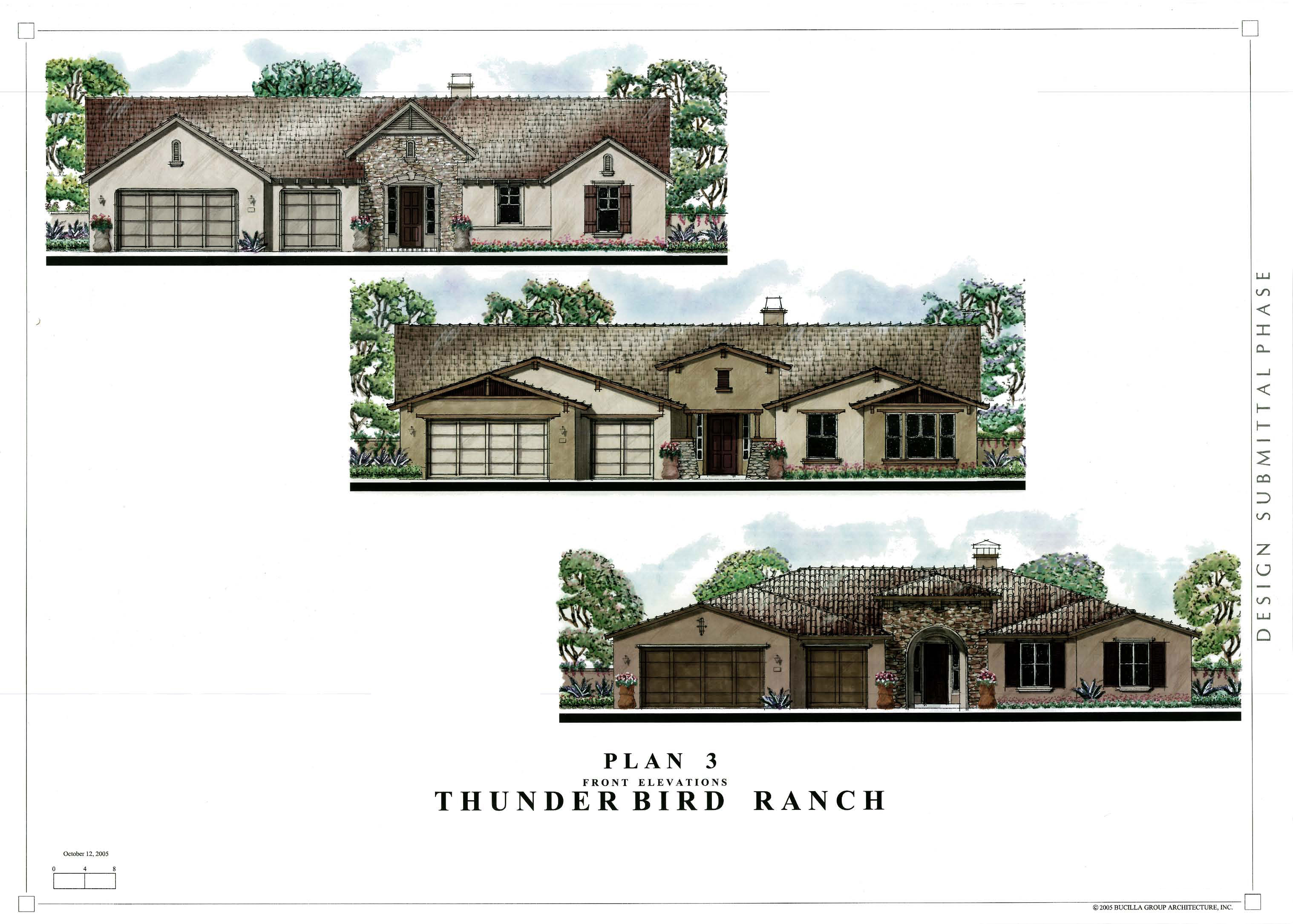 Custom home floor plans thunderbird trails front elevation for Custom built homes floor plans